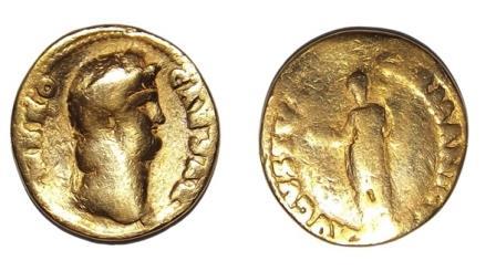 Римская золотая монета с изображением Нерона