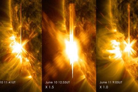 Три вспышки на Солнце за два дня