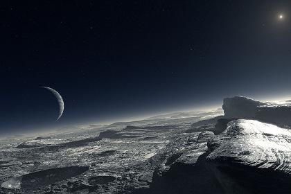 Представление художника о том, как Харон (слева) и Солнце выглядят с поверхности Плутона