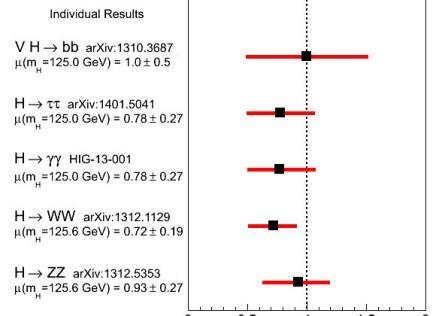 Предварительные результаты по распадам бозона Хиггса