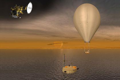 Схематическая иллюстрация посадки возможного зонда на Титан
