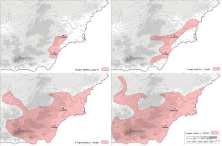 Моделирование изменений территории Эль-Аргарской культуры с течением времени