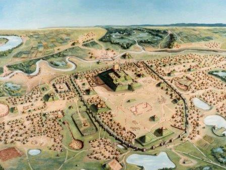 Реконструкция города, на месте которого находятся курганы Кахокии