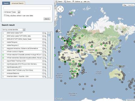 Карта на сайте movebank.org