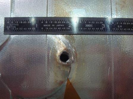Повреждение панели шаттла «Индевор» из-за столкновения с космическим мусором во время полета 2007 года