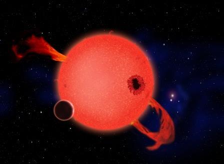 Художественная концепция скалистой планеты, находящейся на орбите красного карлика
