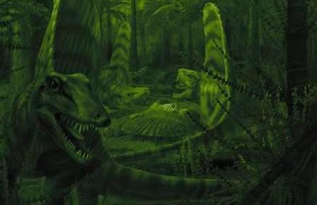 Пара Dimetrodon в ночном лесу пермского периода