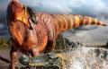 Rhinorex condrupus отбивается от гигантского крокодила Deinosuchus