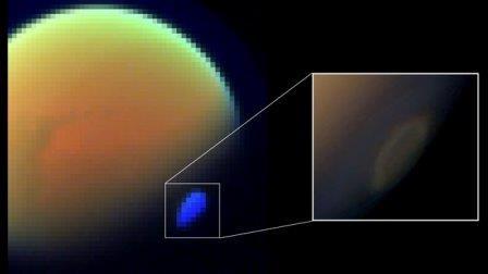 На изображении  показана спектральная карта Титана, где виден его гигантский гексагон.