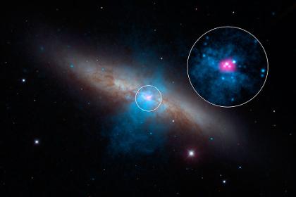 Messier 82 и источник рентгеновского излучения в ней