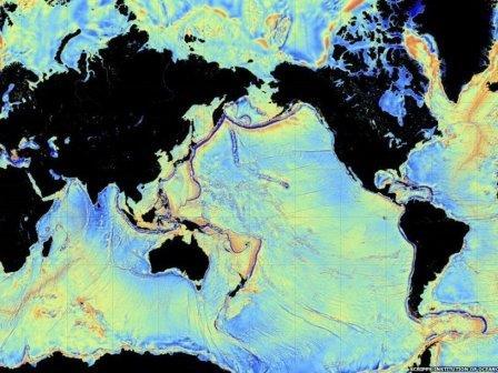 Новая карта рельефа океанов