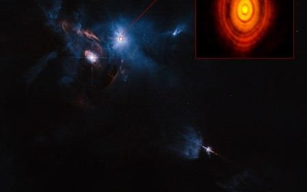 Составной снимок области вокруг молодой звезды HL Tельца по данным ALMA и телескопа Хаббла