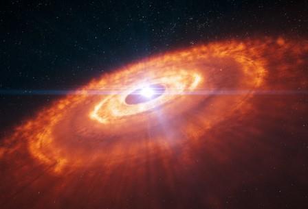 Молодая звезда, окруженная протопланетным диском, в представлении художника