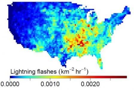 Частота ударов молний в США (2011 год)