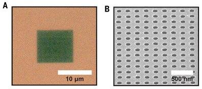 В поверхности золота были проделаны наноразмерные отверстия
