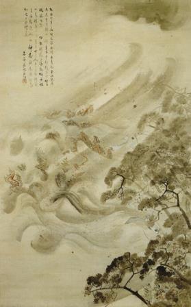 Тайфун топит флот монголов.