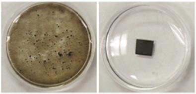 разрушившаяся в воде мембрана из чистого оксида графена.