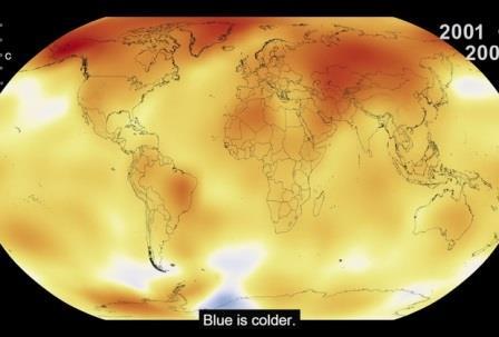 Карта изменения температуры на Земле