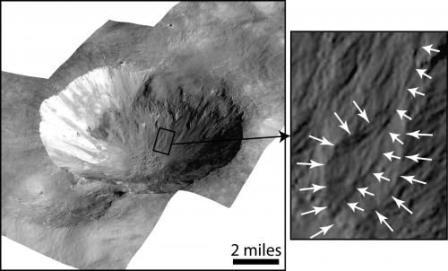 На Весте обнаружены следы водных потоков