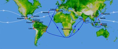 Маршруты испанских и португальских мореплавателей в XVI веке