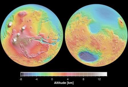 Разница между северным и южным полушариями Марса