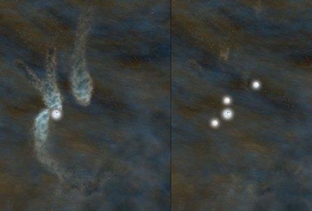 Астрофизики разглядели редкую систему из трех формирующихся звезд