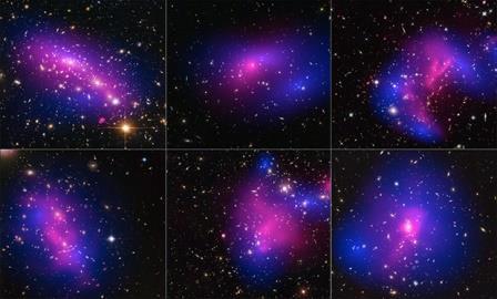 Изображения столкновений скоплений галактик
