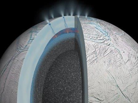 Под ледяным покровом Энцелада есть горячая вода