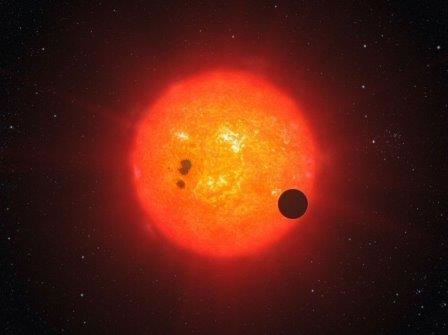 Экзопланета Gliese 1214 b на фоне звезды GJ 1214