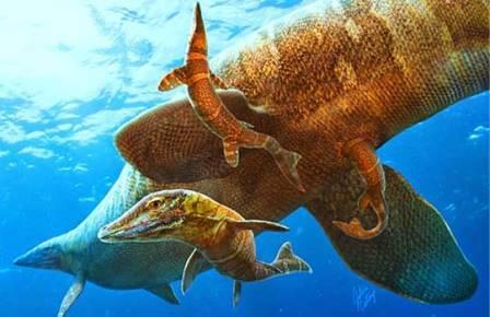 Мозазавр во время родов
