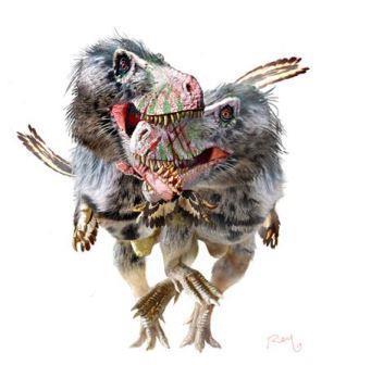 Молодые дасплетозавры дерутся за право пообедать тушами друг друга