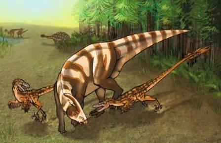 Saurornitholestes sullivani нападают на подростка Parasaurolophus tubicen