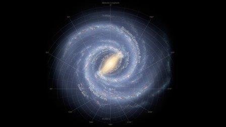 Предполагаемый вид со стороны нашей галактики Млечный Путь