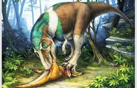 Крупный теропод Gorgosaurus поедает молодого Corythosaurus