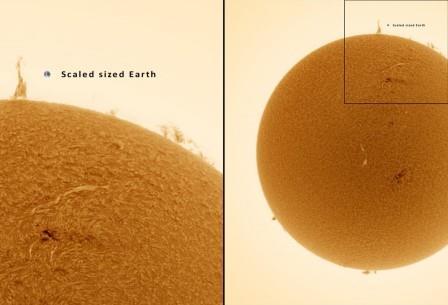 Снимок сделан с использованием Hα–фильтра, позволяющего рассмотреть Солнце в особых деталях