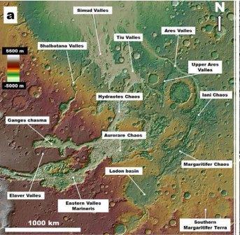 асть знаменитых марсианских каналов и окружающие их кратеры