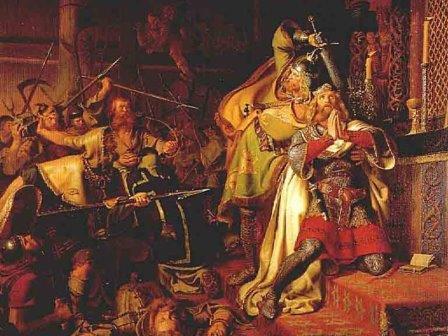 Смерть Кнуда IV. К. А. фон Бензон, 1843. Музей Оденсе