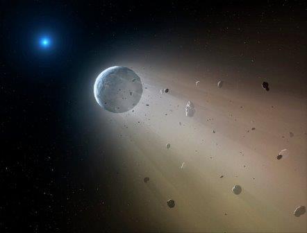 Белый карлик-«звезда смерти» разрушает летящую к нему планету