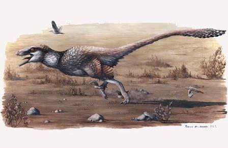 Охотящийся Dakotaraptor steini