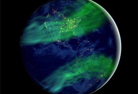 Ослабление геомагнитного поля позволит наблюдать полярные сияния и на умеренных широтах. Взгляд художника