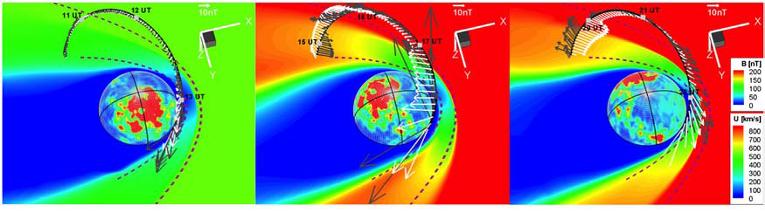 Атмосфера Марса в момент столкновения с выброшенными с Солнца электронами
