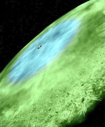 Так художник представил себе протопланетный диск и линию снега у звезды TW Гидры