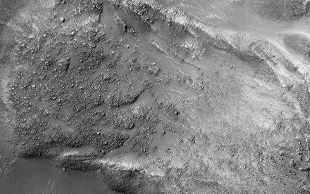 Последствия схода каменной лавины на Марсе