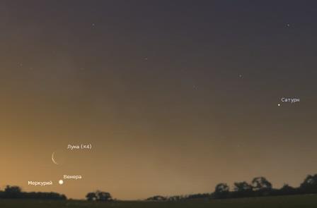 Утром 6 февраля 2016 тонкий серп старой Луны поможет найти на небе Венеру и Меркурий. На этом рисунке размер Луны был увеличен вчетверо для наглядности.