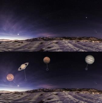 Парад планет, сфотографированный над штатом Юта, США. Слева направо: Венера, Сатурн, Марс и Юпитер. Меркурий в кадр не попал