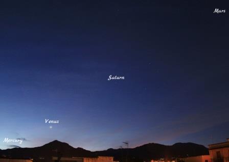 Меркурий, Венера, Сатурн и Марс утром 27 января 2016 года