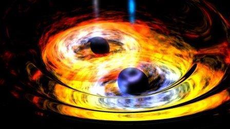Так художник представил себе галактику в созвездии Феникса, в центре которой находятся сразу две черных дыры