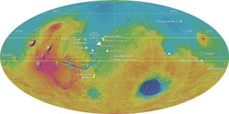 Карта Марса с планируемым местом посадки «Скиапарелли» (обозначено красной звездочкой)