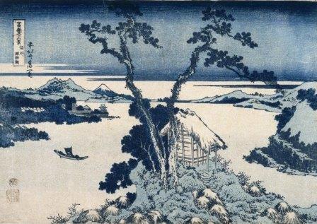 Хокусай. Вид на Фудзи с озера Сува