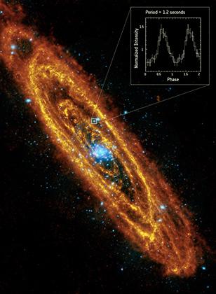 В туманности Андромеды впервые нашли вращающуюся нейтронную звезду